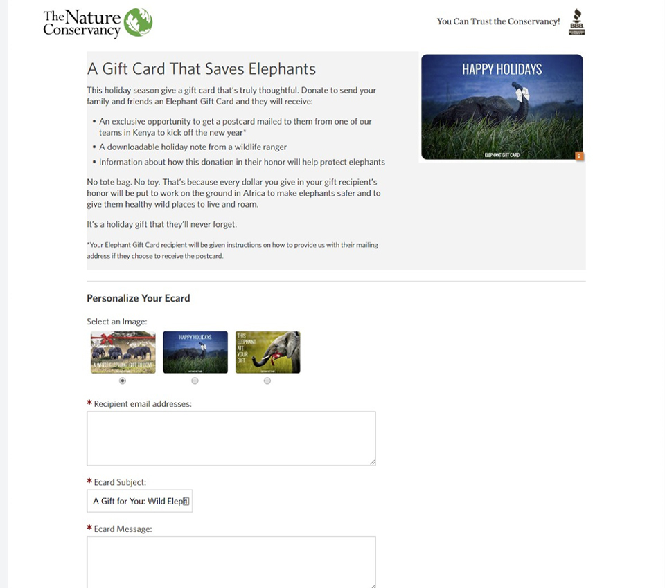 Elephant Gift Card – The Nature Conservancy
