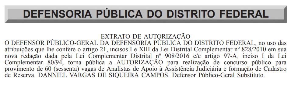 Autorização do concurso DPDF.
