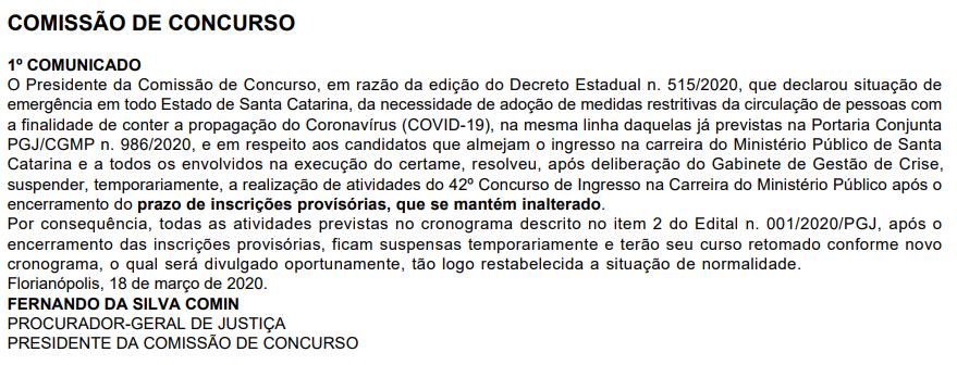 Concurso MP SC Promotor: atividades suspensas