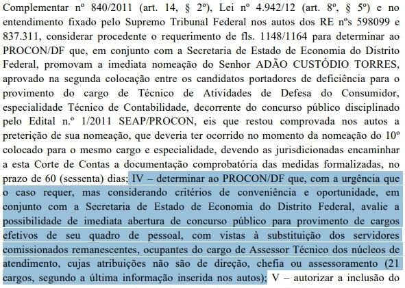 TCDF determina a realização de concurso Procon DF