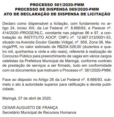 Banca definida do concurso Maringá para o quadro Geral