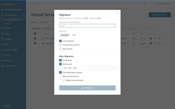 Virtual server live migration