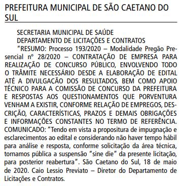 Licitação suspensa do concurso São Caetano do Sul