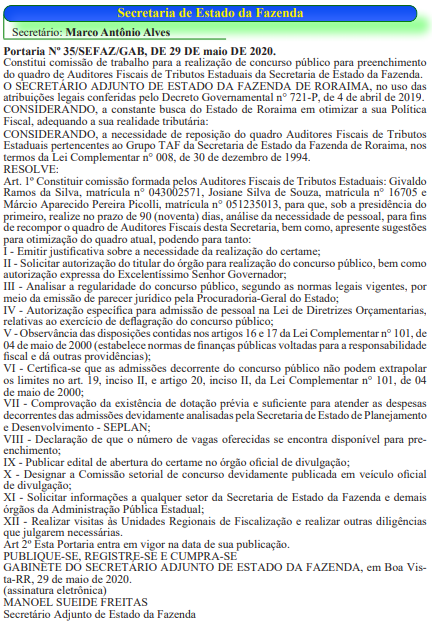 Comissão formada do concurso Sefaz RR para Auditor