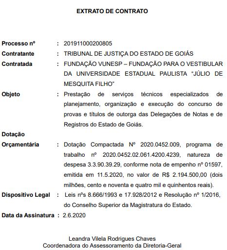 Extrato de contratação da VUNESP como banca organizadora do concurso Cartório GO.