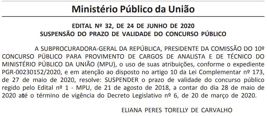 MPU: suspensão do prazo de validade do concurso público 2018.