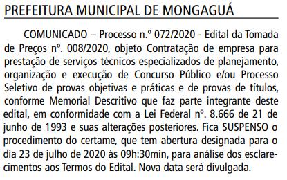 Tomada de Preços do concurso Prefeitura de Mongaguá é suspensa