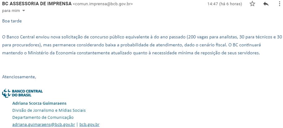 Cópia do e-mail de protocolo do novo concurso Bacen
