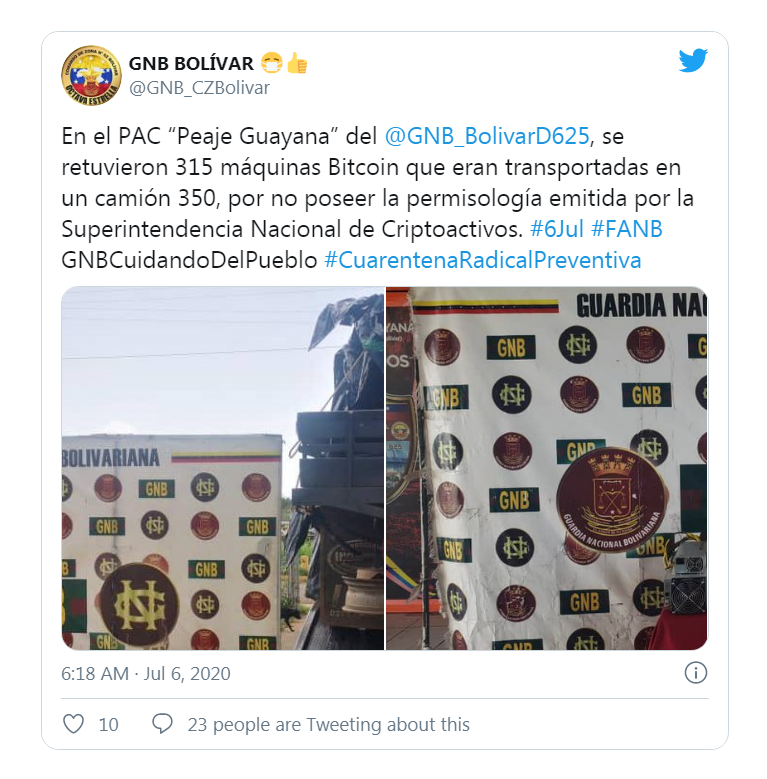 Tweet de l'armée Venezuelienne reportant la saisie de mineurs de Bitcoin
