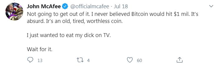 Jonh MacAfee et sa prédiction d'un Bitcoin à 1 million de dollars USD