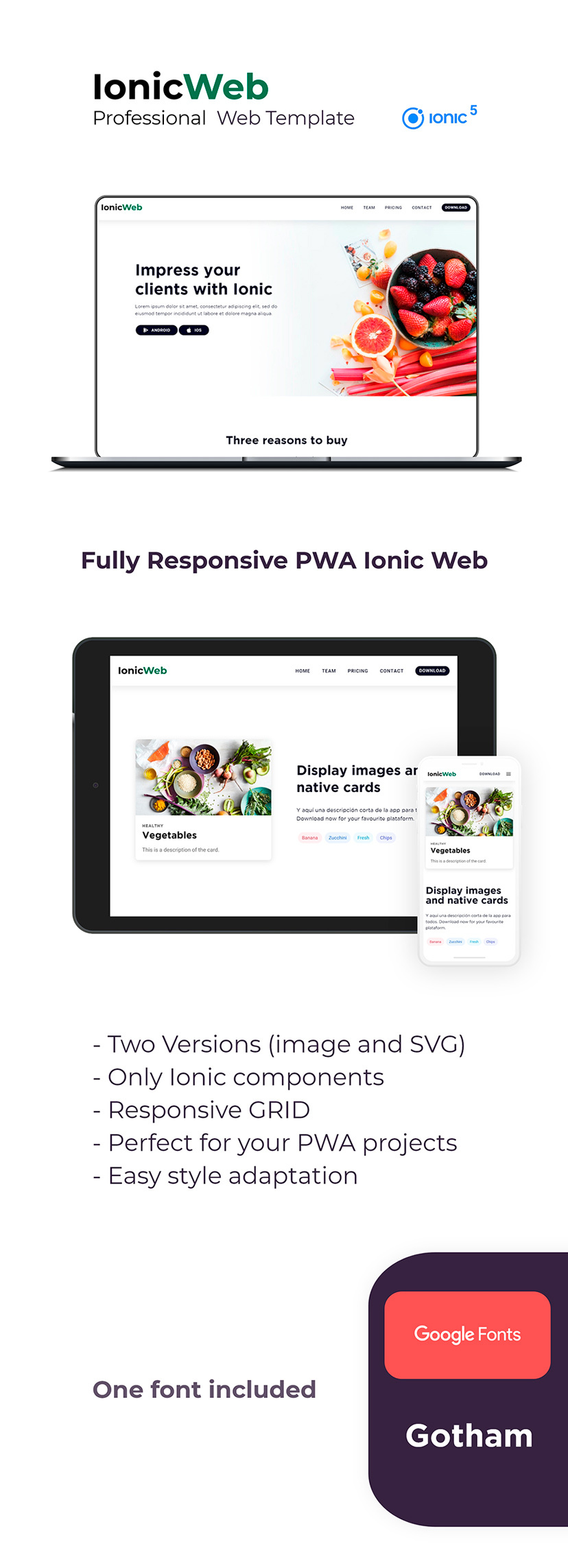 landing page web template ionic