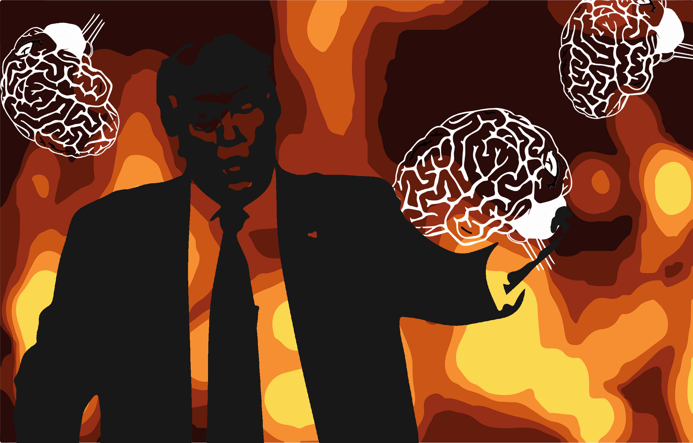 Art with a silhouette of Donald Trump against a fiery background.