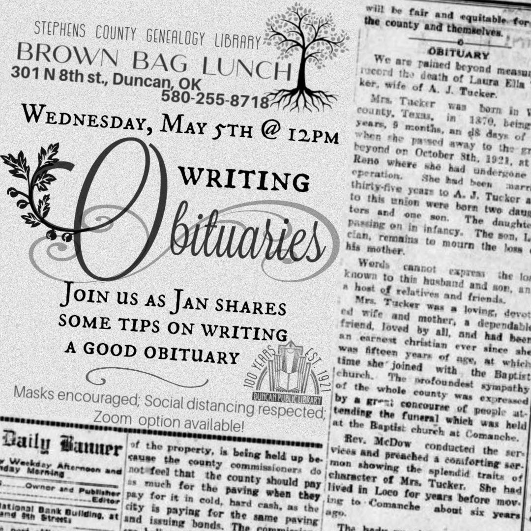 May 5th: Brown Bag Lunch, Writing Obituaries @ Genealogy Library
