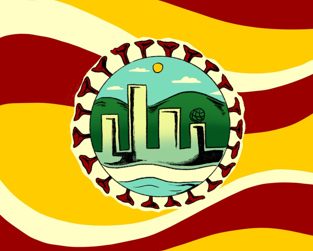 Art of a coronavirus molecule outline, with the city of LA and USC inside of it on a red and yellow background.