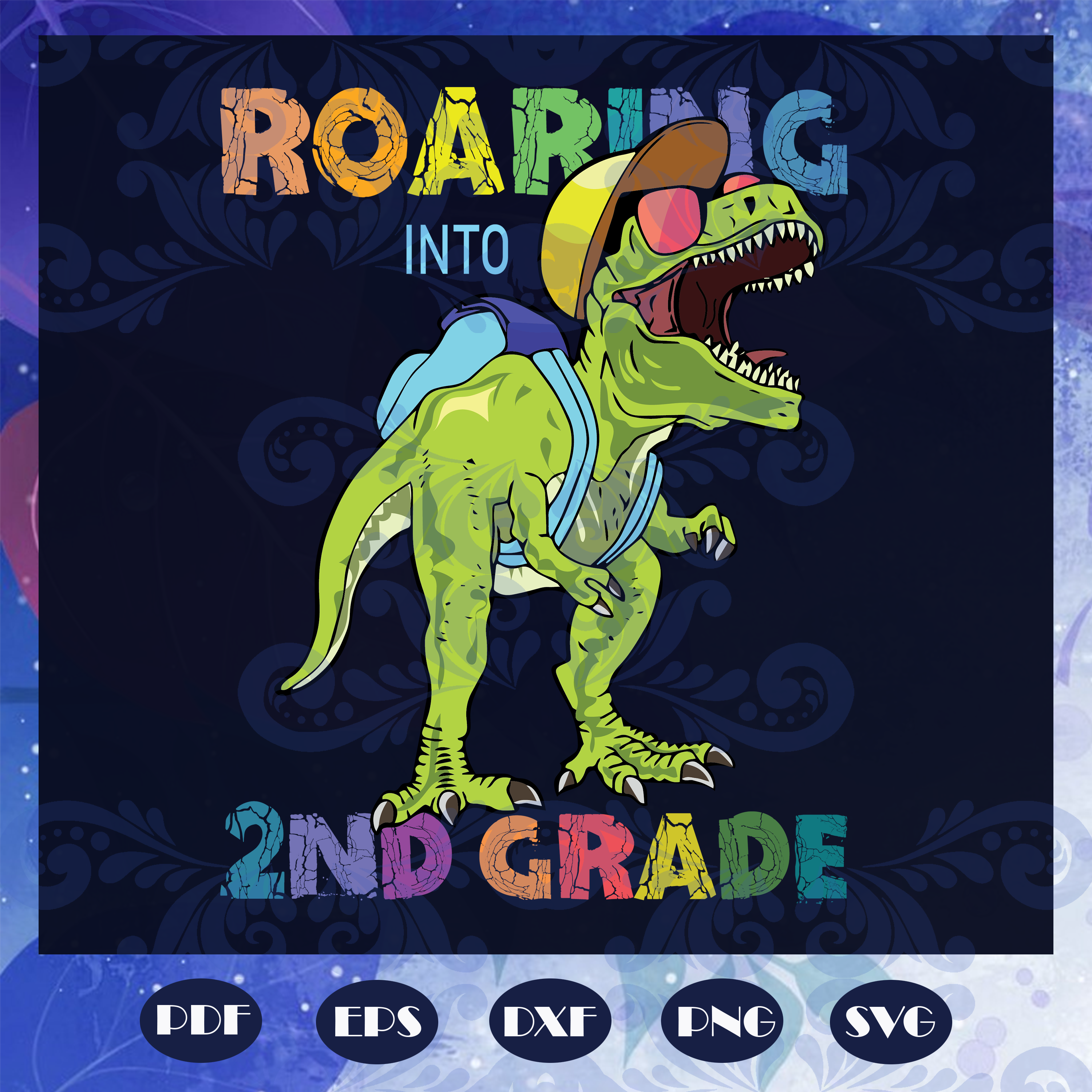 Roaring into 2nd grade svg, come to 2nd grade svg, 2nd grade svg, prepare for 2nd grade svg, students svg, primary school svg, class svg,dinosaur svg, back to school svg,  files for silhouette, files for cricut, svg, dxf, eps, png, instant download