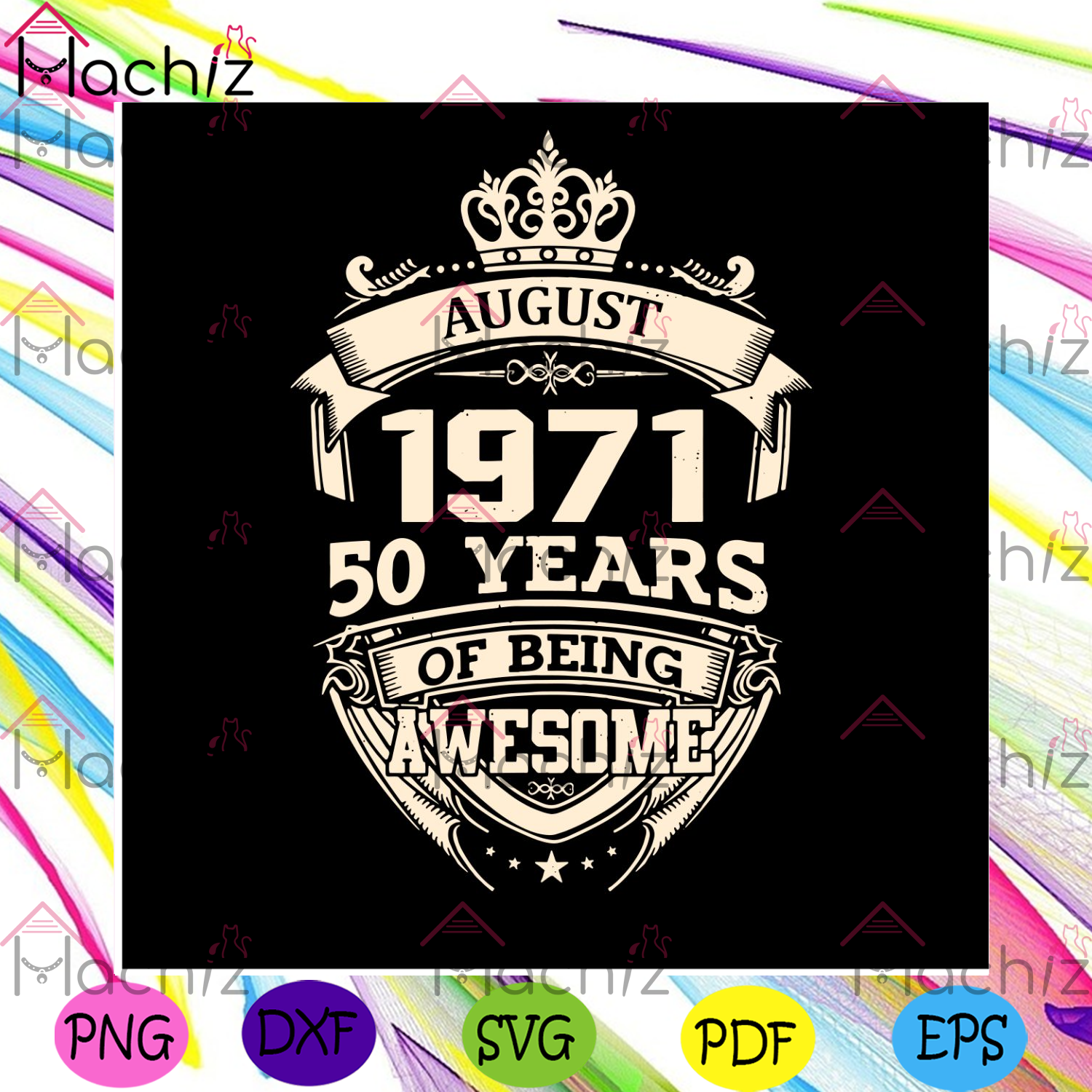 August 1971 50 years of being awesome svg birthday svg