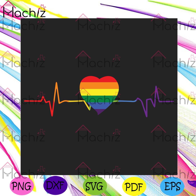 Lovely lgbt gay pride heartbeat svg lgbt svg, gays love svg, gay svg