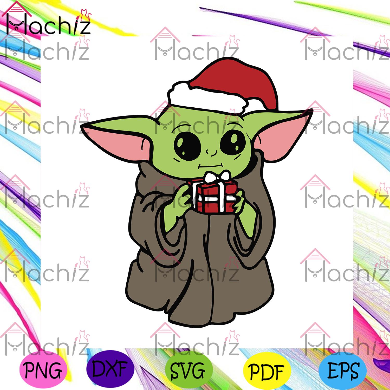 Yoda holding a gift box svg christmas svg, xmas svg, christmas gift