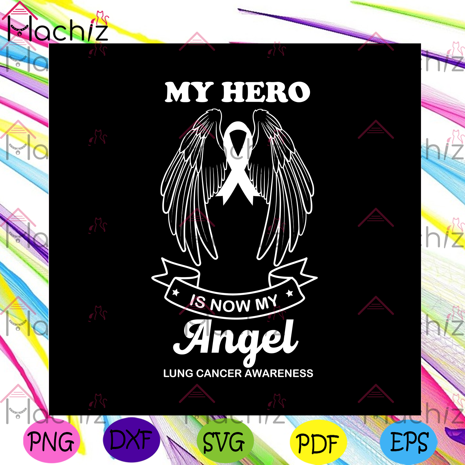 My hero is now my angel lung cancer awareness svg trending svg