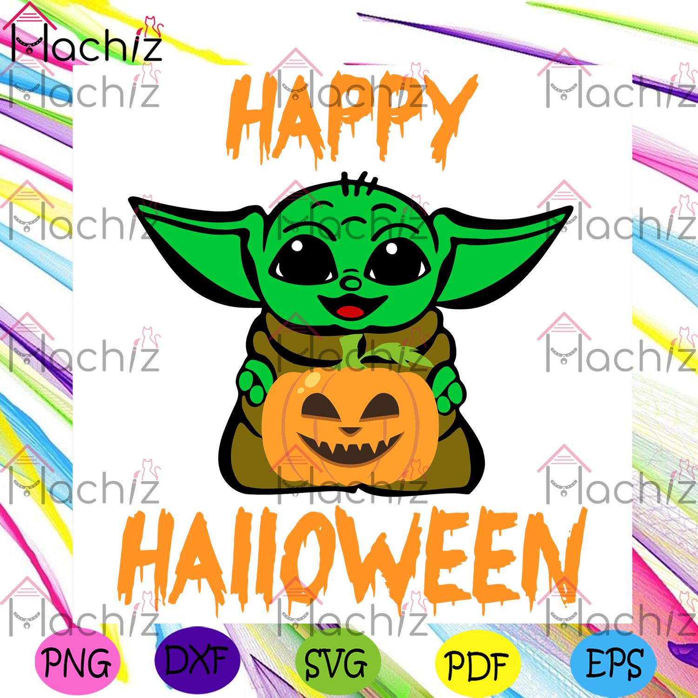 Happy halloween halloween svg, baby yoda svg, pumpkin svg