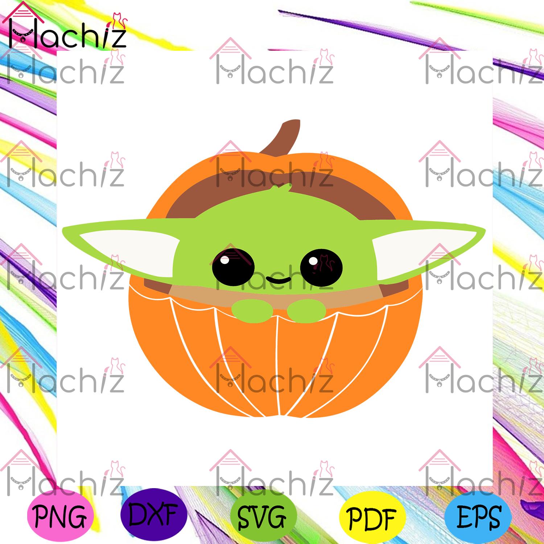 Baby yoda in pumpkin halloween svg, cute baby yoda, baby yoda svg